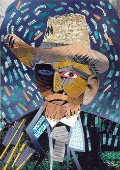 Sally wassink collage of the famous self-portrait by vincent van gogh. Collage Portrait, Collage Art, Vincent Van Gogh, Collages, Famous Self Portraits, Van Gogh Art, Arts Ed, Mix Media, Art Plastique