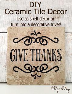 DIY Decor...Use ceramic tiles as shelf decor or add felt feet to create a decorative kitchen trivet.  I <3 inexpensive projects!! #diy