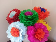 Tissue Paper Fiesta Flowers  Set of 8 Tissue paper by PomGarden
