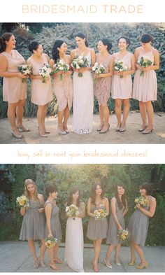 Love the flowers with the gray dresses!