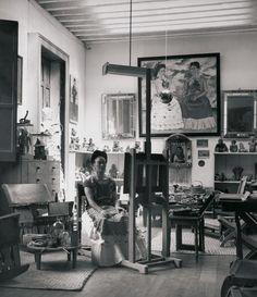 Frida Kahlo in her studio. 1943.