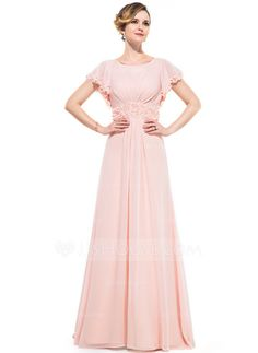 Evening Dresses - $136.99 - A-Line/Princess Scoop Neck Sweep Train Chiffon Evening Dress With Ruffle Beading Flower(s) Sequins (017050392) http://jjshouse.com/A-Line-Princess-Scoop-Neck-Sweep-Train-Chiffon-Evening-Dress-With-Ruffle-Beading-Flower-S-Sequins-017050392-g50392