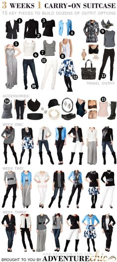 fall travel wardrobe - 3 weeks, 1 carry-on! this looks good for my closet.) Also great to build a wardrobe on Fall Travel Wardrobe, Travel Outfits, Vacation Wardrobe, Packing Outfits, Vacation Outfits, Europe Outfits, Summer Outfits, Packing Clothes, Capsule Outfits