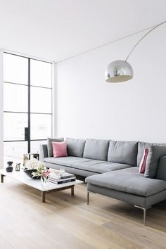 Modern living room with a mauve mix of hues