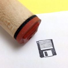 Retro Computer Floppy Disk   Rubber Stamp by RADstamps on Etsy, $3.75