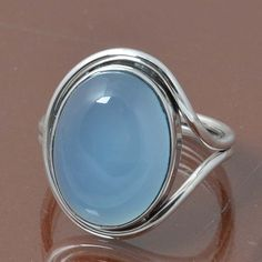 BLUE CHALCEDONY 925 STERLING SILVER RING JEWELRY 5.08g DJR7046 SIZE 7.5 #Handmade #Ring