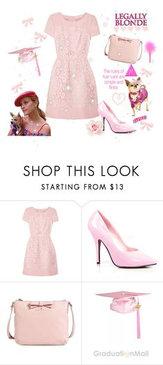 """♡ Legally Blonde Inspired Look ♡"" by kaylalovesowls ❤ liked on Polyvore featuring Oscar de la Renta, Pleaser, Kate Spade and UrbanPup"