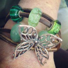 Big butterfly on Trollbeads Leather bracelet! From a member on Trollbeads Gallery Forum!