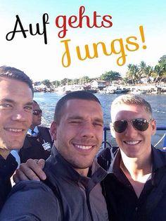 Die Mannschaft footballers; Manuel Neuer, Lukas Podolski, and Bastian Schweinsteiger :)