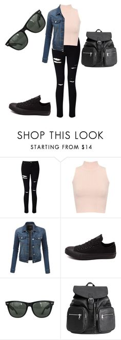Back to school outfit #4 by baconkat ❤ liked on Polyvore featuring Miss Selfridge, WearAll, LE3NO, Converse and Ray-Ban