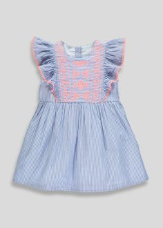 6711576f50 Girls Embroidered Dress (9mths-6yrs) – Blue – Matalan Holiday Outfits,  Holiday