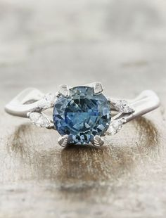 Unique sapphire engagement rings that are nature inspired by Ken & Dana Design