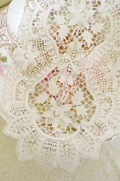 Beautiful Vintage Chemical Lace Doily by Jenneliserose