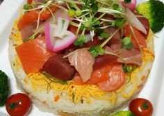 Doll's Festival Seafood Chirashi Sushi Cake Recipe -  How are you today? How about making Doll's Festival Seafood Chirashi Sushi Cake?