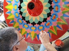 Ox Cart wheel painting