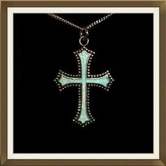 Beautiful Art Deco Enameled Silver Cross + Chain  £75.00