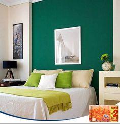 Pintar la pared de la cama con un color muy vivo puede ser una alternativa diferente al clásico cabecero. ¿Te atreves? (Imagen: Decoratrix.com)