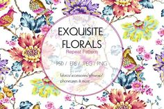 Exquisite Floral Print in 2 Repeats by Exquisite Prints on @creativemarket