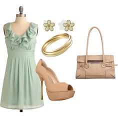Pretty mint green dress with nude peep-toe pumps and accessories perfect for the spring.