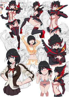 Random sketches,doodles, scrawl about Ryūko Matoi Anime Ai, Manga Anime, Girls Characters, Anime Characters, Cosplay Games, Chino Anime, Character Concept, Character Design, Live Action