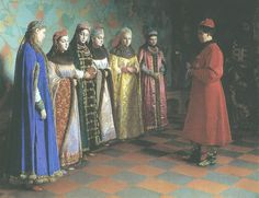 Young czar choosing his wife from all the noble girls