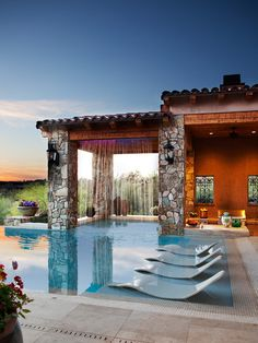 Tuscan Landscape | Pool Chairs | Contemporary Architecture | Modern Backyard Ideas