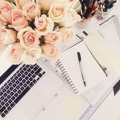 {photography | by instagram : a million images of inspiration} by {this is glamorous}, via Flickr Desk Inspo, Office Inspo, Office Decor, Desk Office, Office Ideas, Mac Notebook, Diary Notebook, Business Desk, Messy Desk