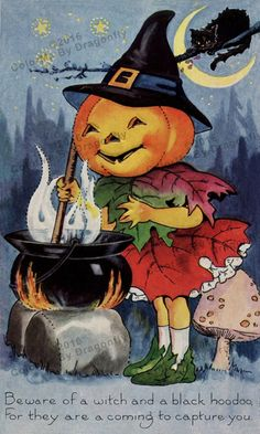 Cute Vintage Pumpkin Witch Stirs Her Cauldron Black Cat Ready to Pounce!! Vintage Halloween ILLUSTRATION!