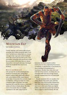 DnD Homebrew — Mountain Elf Subrace Source: https:&