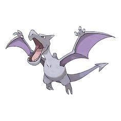 Aerodactyl - 142 - It was regenerated from a dinosaur's genetic matter that was found in amber. It flies with high-pitched cries. This vicious Pokémon is said to have flown in ancient skies while shrrieking high-pitched cries.  @PokeMasters