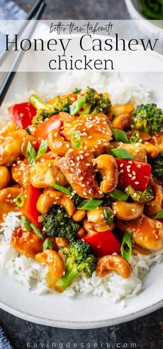 Honey Cashew Chicken - You'll love the sweet heat of this Asian inspired stir-fry loaded with tender chunks of chicken, red bell pepper, onions & tender broccoli. #honeycashewchicken #cashewchicken #Asianstirfry #stirfry #chickenstirfry #chicken #Sriracha #cashew #dinner #weeknightmeal #recipe Stir Fry Recipes, Cooking Recipes, Jai Faim, Asian Recipes, Healthy Recipes, Sriracha Recipes, Whole Food Recipes, Ethnic Recipes, Asian Stir Fry