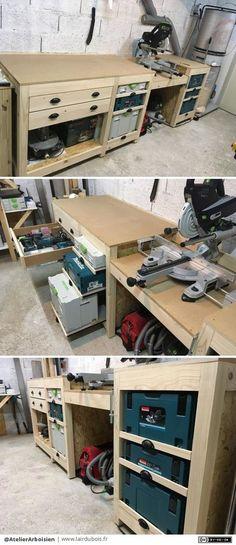 Workshop Furniture by AtelierArboisien - Pavel Bonifazio Garage Workshop Organization, Garage Tool Storage, Workshop Storage, Garage Tools, Home Workshop, Garage Shop, Shed Storage, Wood Shop Projects, Woodworking Projects Diy