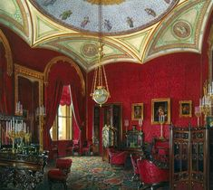 The Cabinet - The Suite of Empress Alexandra Feodorovna at the Winter Palace in Saint Petersburg. Depicted in gouache by court painters Alexandra Feodorovna, Imperial Palace, Imperial Russia, Casa Casuarina, Palace Interior, Art Watercolor, Detailed Paintings, Russian Culture, Winter Palace
