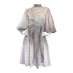 Mollie Parnis 1960s 60s Chic Black & White Polka Dot Silk Chiffon Vintage Dress  1