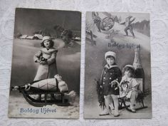 Photo Postcards, Vintage Postcards, Happy New Year Text, New Year Photos, Novelty Items, Christmas Images, Champagne, German, Xmas