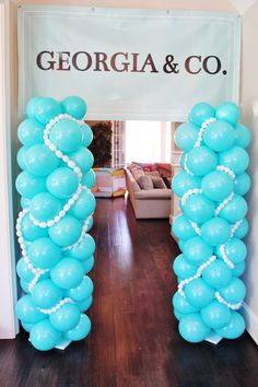 Balloon entrance from Breakfast at Tiffany's Birthday Party inside Kara's Party Ideas. See the details at karaspartyideas.com!