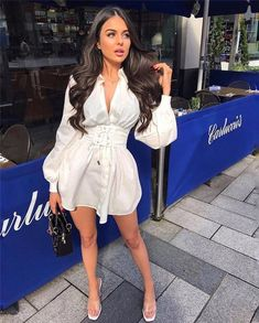 Sexy Summer Dresses, Spring Dresses Casual, Casual Dresses For Women, Dressy Outfits, Dress Summer, Summer Outfits, Mini Shirt Dress, Long Sleeve Shirt Dress, Dress Shirts For Women