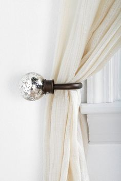 Mercury Glass Curtain Tie-Back (Urban Outfitters); for Living Room to match the curtain rod finials Finials For Curtain Rods, Curtain Tie Backs, Rideaux Design, Glass Curtain, Metal Curtain, Idee Diy, Velvet Curtains, Hanging Curtains, Mercury Glass