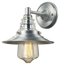 Landmark 66700-1 Insulator Glass 12 Inch Tall Brushed Aluminum Wall Light Fixture - LAN-66700-1