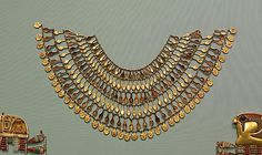 Broad collar of nefer amulets New Kingdom Dynasty 18 ca. 1504–1450 B.C. Egypt, Upper Egypt; Thebes, Wadi Gabbanat el-Qurud, Tomb of the 3 Foreign Wives of Thutmose III Medium: Gold