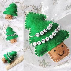 Hand sewn Christmas tree ornament made from felt  3 available options: 1. Plain 2. Merry Christmas 3. Personalised (Gift ideas:…