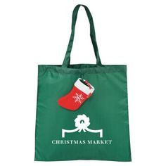"""Promotional Christmas Stocking Tote Bags: Available Color: Hunter Green Product Size: 15.5"""" H X 15.5"""" W Imprint Area: 8.00"""" H x 8.00"""" W Imprint Method: ColorPrint. Carton Weight: 26 lbs. Packaging: 200 Pieces. Material: 190T Polyester. #ChristmasStockingTotes"""