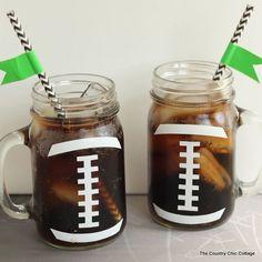 Football Party Mason Jar Mug - Football Party Ideas - Super Bowl Party Ideas