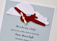 Baby boy airplane birthday and baby shower invitation (set of Wise Wise Airplane Baby Shower, Airplane Party, Baby Shower Fun, Baby Shower Themes, Baby Airplane, Shower Ideas, Invitation Set, Baby Shower Invitations, Birthday Invitations