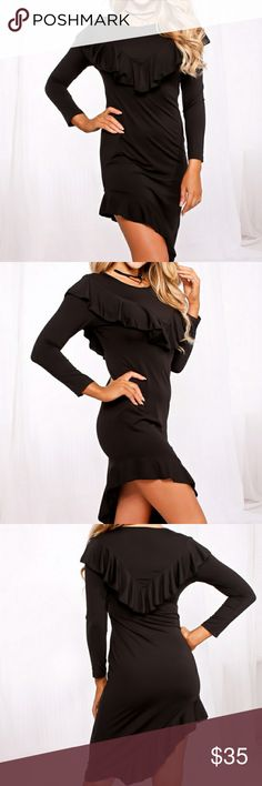 SIZZLING SEXY DRESS🔥🔥🔥 Sizzling 🔥sexy dress features a scoop neckline, long sleeve, high low look, ruffle accent. Highlights your sexy legs with the high hem detail👀Not see through. Medium soft and stretchy. - Polyester - cotton Dresses