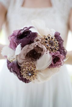 Custom Eggplant Brooch Bouquet Fabric Flower Bouquet by Mlleartsy