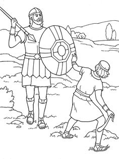 An illustration of David and Goliath. Great to use as a coloring page.