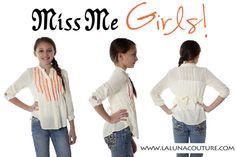 Miss Me girls Beach girl blouse only $39!  This lightweight, button down blouse is a creamy ivory color with bright orange details. Perfect for Spring but also great for summer! Order yours now!  https://www.lalunacouture.com/miss-me-girls-beach-girl-blouse.html