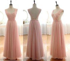 Prom Dress, Pink Prom Dress, Backless Prom Dress,
