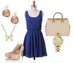 Vestido azul zappos dorados smokin